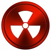 picture of radium  - Metallic icon with white design on red background - JPG