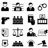 image of jury  - Legal justice and court icon set in black - JPG