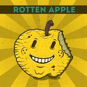 stock photo of maliciousness  - Funny cartoon malicious yellow monster apple on the scratchy retro background - JPG