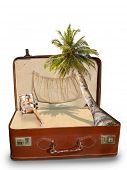 foto of bimbo  - Blonde woman on the beach Package beach vacation retro suitcase - JPG