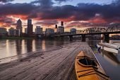 stock photo of kayak  - Portland Oregon Panorama - JPG