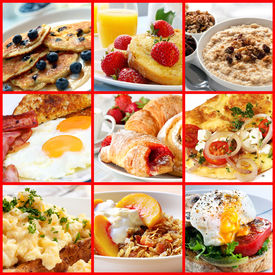 picture of continental food  - Collage of breakfast images - JPG