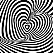image of uncolored  - Design heart swirl rotation illusion background - JPG