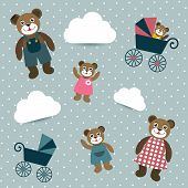 stock photo of mating bears  - Kids retro wallpaper design - JPG