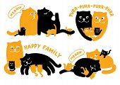 picture of cat-tail  - Vector illustrations set of two cats and three kittens - JPG