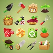 stock photo of hoe  - Farmers Tools Icons Set - JPG