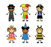 Cartoon children in different carnival costumes