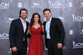 LAS VEGAS - APR 6:  Joshua Morrow, Cassadee Pope, Steve Burton at the 2014 Academy of Country Music