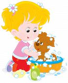 image of wash-basin  - Little girl washes her small pup in a basin with lather - JPG