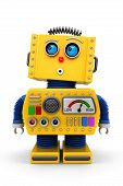 picture of shock awe  - Yellow toy robot is looking surprised up in the air - JPG