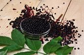 foto of elderberry  - Therapeutic elderberry fruit on a wooden table