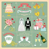 Set Of Wedding Invitation Vintage Design Elements,icons