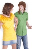 stock photo of fornication  - conflict situation between man and woman on a white background - JPG