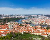 Aerial view of Charles Bridge over Vltava river and Old city from Petrin hill Observation Tower. Pra