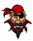 stock photo of buccaneer  - Head of danger buccaneer in bandana - JPG