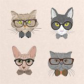 stock photo of bowing  - Collection of hipster cats with bows and glasses isolated vector illustration - JPG