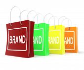 Brand Shopping Bags Shows Branding Trademark Or Label