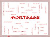 stock photo of amortization  - Mortgage Word Cloud Concept on a Whiteboard with great terms such as loan home banker and more - JPG