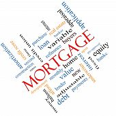 stock photo of amortization  - Mortgage Word Cloud Concept angled with great terms such as loan home banker and more - JPG