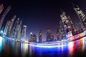 DUBAI, UAE - MARCH 29: Dubai Marina at Dusk from the top, on March 29, 2014, Dubai, UAE. In the city
