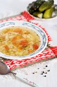 Rassolnik - Soup With Pearl Barley And Salty Cucumbers