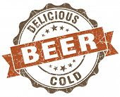 Beer Brown Grunge Retro Style Isolated Seal