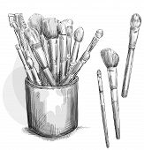 Make up brushes collection. Brushes in a case. Fashion illustration. Vector sketch.