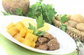 image of rutabaga  - Venison goulash with turnip on a light background  - JPG