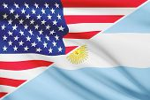 Series Of Ruffled Flags. Usa And Argentina.