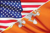 Series Of Ruffled Flags. Usa And Bhutan.