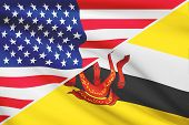 Series Of Ruffled Flags. Usa And Brunei.
