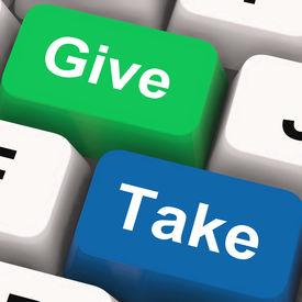 stock photo of generous  - Give Take Keys Showing Generous And Selfish - JPG