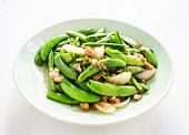 picture of snow peas  - Fried Pea On Plate - JPG