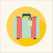 Vintage Travel Suitcases, Flat Icon With Long Shadow poster