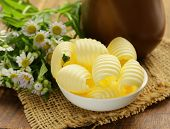 picture of margarine  - fresh yellow dairy butter in a white bowl - JPG