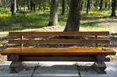 stock photo of banquette  - A Wooden bench in the autumn park - JPG