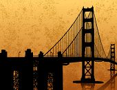 stock photo of golden gate bridge  - a silhouette of the Golden Gate Bridge in San Francisco with a grunge background - JPG