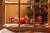 stock photo of carousel horse  - Atmospheric Christmas window sill decoration - JPG