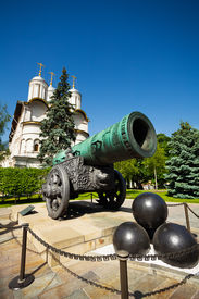 stock photo of cannon-ball  - Close up view of Tsar Cannon with three bullet balls in the Moscow Kremlin - JPG