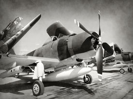 image of fighter plane  - World War II era fighter planes in stained old photo - JPG