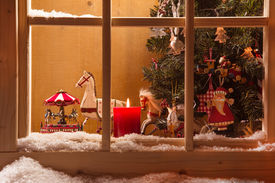 stock photo of year horse  - Atmospheric Christmas window sill decoration - JPG