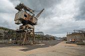 stock photo of cockatoos  - Rusty disused crane on Cockatoo Island docks in Sydney - JPG