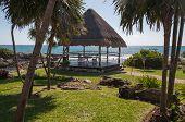 foto of gazebo  - Caribbean vacation palm trees and gazebo at sea - JPG