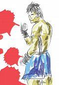 stock photo of muay thai  - vector  Muay Thai is a martial art - JPG