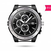 picture of wrist  - vector modern realistic luxury wrist watch isolated on a white background - JPG