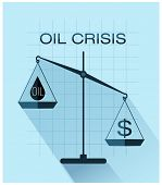 image of crisis  - Classic scales of justice with drop of oil and dollar sign, Oil crisis flat design.