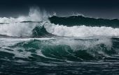 stock photo of rough-water  - Sea with rough waves - JPG