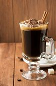 stock photo of frappe  - cup of coffee on wooden background - JPG