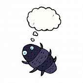 image of woodlouse  - cartoon bug with thought bubble - JPG