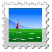 pic of offside  - Corner Kick postage stamp isolated on a white - JPG